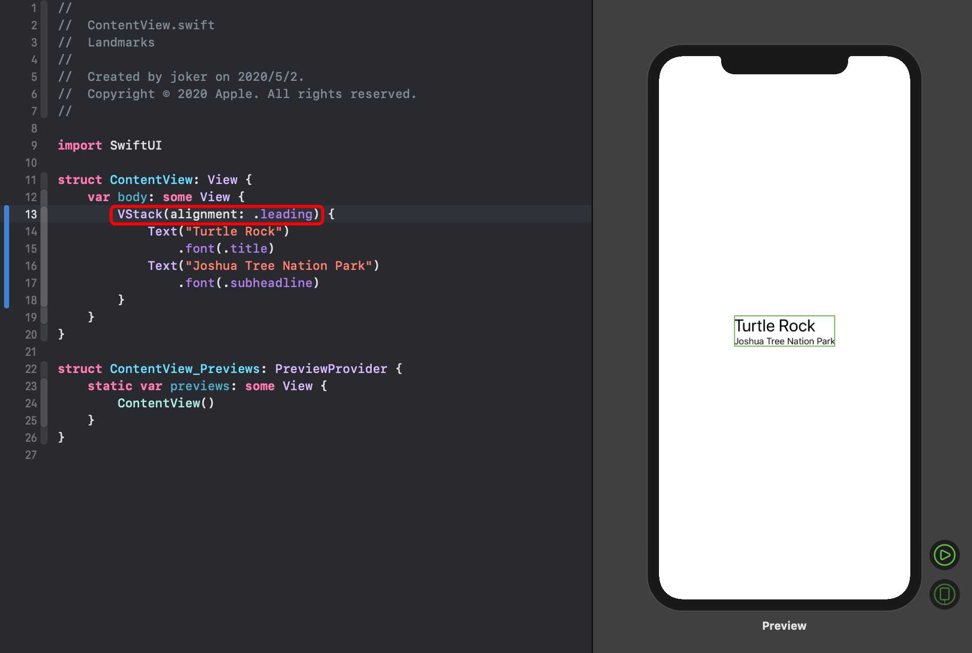 swiftui vstack leadng alignment